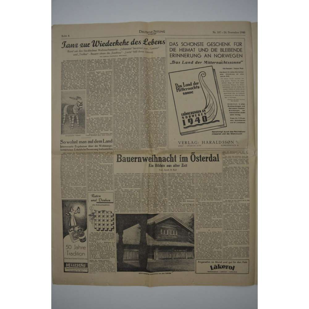 deutsche zeitung in norwegen nr 187 weihnachten 1940. Black Bedroom Furniture Sets. Home Design Ideas