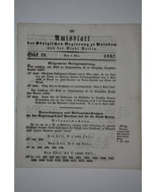 Amtsblatt der Königlichen Regierung zu Potzdam und der Stadt Berlin Nr. 19 7. Mai 1847-20