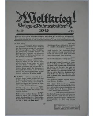 Weltkrieg Kriegs and Ruhmesblätter Nr. 59 1915-20