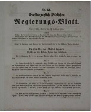 Großherzoglich Badisches Regierungs Blatt Nr. 11 17. Februar 1851-20