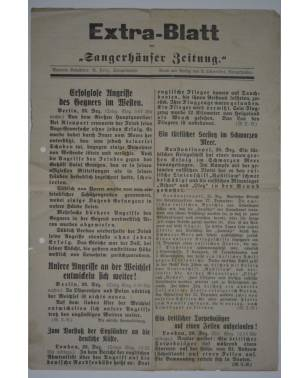 """Extra-Blatt der """"Sangerhäuser Zeitung"""" 28. Dezember 1914-20"""