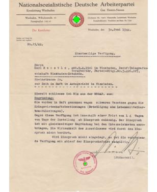 Dokument NSDAP Kreisleitung Wiesbaden Gau Hessen-Nassau Parteiausschluss Karl Reustle SS-Führer und Kreisleiter Felix Piékarski 1944-21