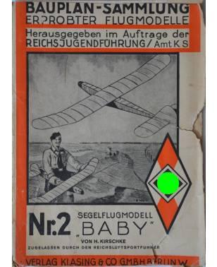 """Bauplan Segelflugmodell """"BABY"""" 1936-20"""