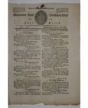 Königlich Württembergisches Allgemeines Amts und Intelligenz-Blatt für den Jagstkreis Nr. 58 22. Juli 1837-20