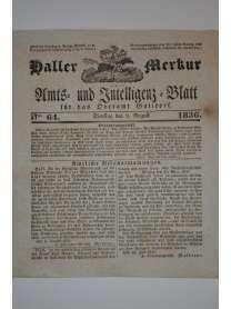 Haller Merkur - Amts- und Intelligenz-Blatt für das Oberamt Gaildorf - Nr. 64 - 9. August 1836