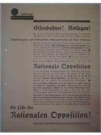 Wahlflugblatt - Betriebsratswahl - Eisenbahner - Nationale Opposition - um 1930 - Berlin