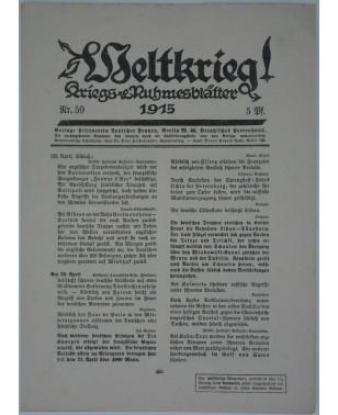Weltkrieg Kriegs and Ruhmesblätter Nr. 59 1915-21