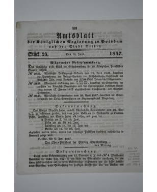 Amtsblatt der Königlichen Regierung zu Potzdam und der Stadt Berlin Nr. 25 18. Juni 1847-20