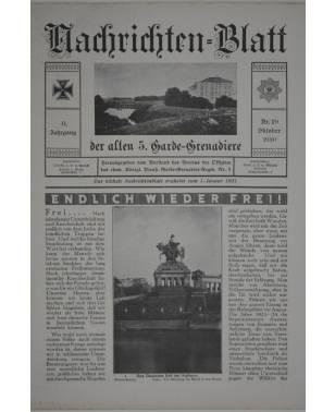 Nachrichten-Blatt der alten 5. Garde-Grenadiere Oktober 1930 Nr. 29 11. Jahrgang Königlich Preußisches Garde Grenadier Regiment Nr. 5-20