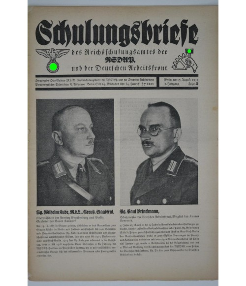 Schulungsbriefe Folge 3 15. August 1933-31