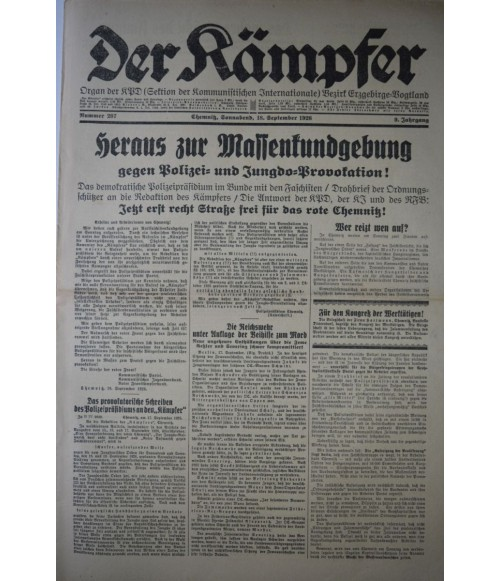 Der Kämpfer Organ der KPD Nr. 207 18. September 1926-31