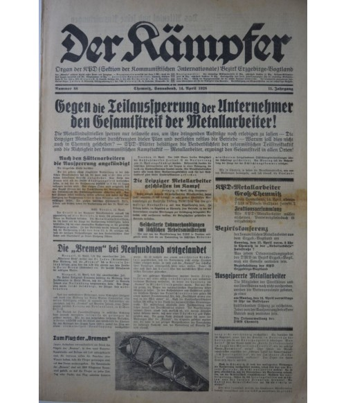 Der Kämpfer Organ der KPD Nr. 88 14. April 1928-31