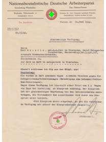 Dokument - NSDAP - Kreisleitung Wiesbaden - Gau Hessen-Nassau - Parteiausschluss Karl Reustle - SS-Führer und Kreisleiter Felix Piékarski - 1944