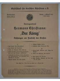 Flugblatt - Gesellschaft für deutsches Schrifttum e.V. - Hermann Christians - 1929