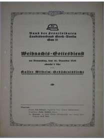 Flugblatt - Der Stahlhelm - Weihnachts-Gottesdienst - Berlin - 1928