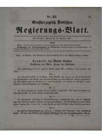 Großherzoglich Badisches Regierungs - Blatt  -  Nr. 11 - 17. Februar 1851