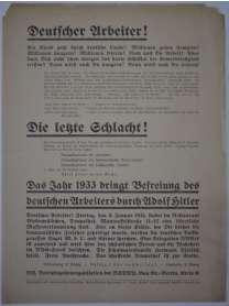 Flugblatt - NSDAP - Massenversammlung  - 6. Januar 1933 - Berlin - NS Betriebszellen-Organisation