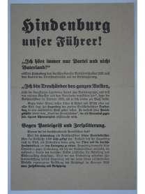 Wahlflugblatt - NSDAP - Reichspräsidentenwahl 1932 - Hindenburg