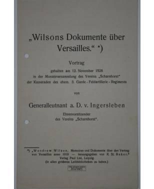 """Wilsons Dokumente über Versaills"" Vortrag Generalleutnant a. D. v. Ingersleben Verein ""Scharnhorst"" 1928-20"