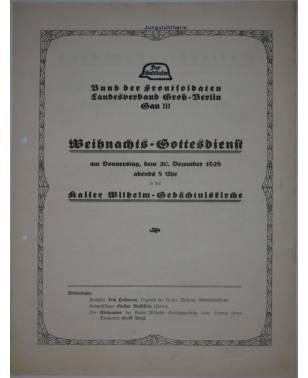 Flugblatt Der Stahlhelm Weihnachts-Gottesdienst Berlin 1928-20