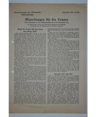 Mitteilungen für die Truppe Oberkommando der Wehrmacht Nr. 163 Dezember 1941-20