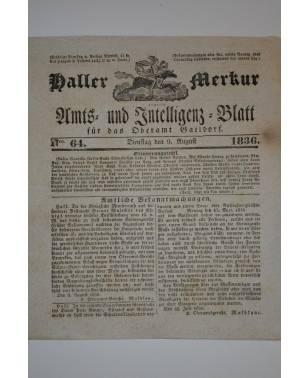 Haller Merkur Amts und Intelligenz-Blatt für das Oberamt Gaildorf Nr. 64 9. August 1836-20