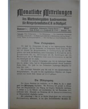 Monatliche Mitteilungen Kriegerheimstätten Nr. 3 Februar 1917-20