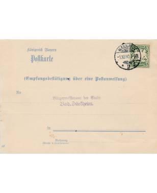 Postkarte Postanweisung Königreich Bayern Bürgermeisteramt der Stadt Bad Dürkheim 1910-20