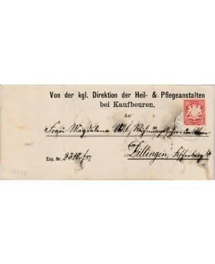 Brief kgl. Direktion der Heil and Pflegeanstalten bei Kaufbeuren Dillingen 1898-20